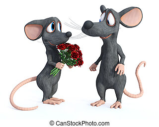 3D rendering of two cartoon mice dating.