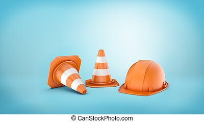 3d rendering of two striped road cones and helmet on blue background.