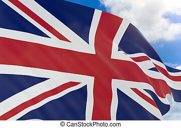 3D rendering of United Kingdom flag waving on blue sky background