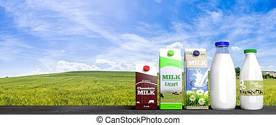 3D rendering of  various Milk packaging, with green fields and blue sky background.