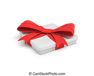 3d rendering of white flat gift box with a red ribbon bow in side top view.
