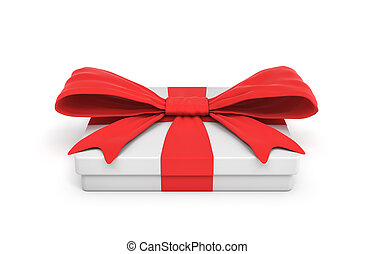 3d rendering of white flat gift box with a red ribbon bow isolated on white background