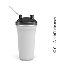 3d rendering of white shaker with black covers on white background.