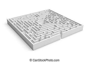 3d rendering of white square maze consruction with an entrance isolated on white background