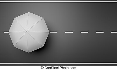 3D rendering of white umbrella on road, top view
