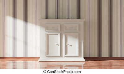 3D rendering of white wooden cupboard, home interior