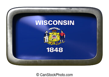 3d rendering of Wisconsin State flag