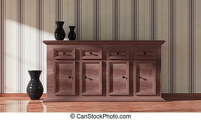 3D rendering of wooden cupboard and vases, home interior