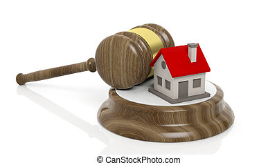 3D rendering of wooden gavel and house symbol, isolated on white background.