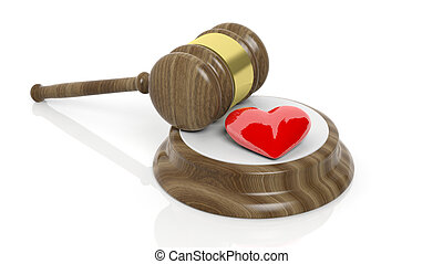 3D rendering of wooden gavel and red heart symbol, isolated...