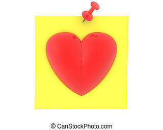 3D Rendering of yellow sticky note with red heart on it