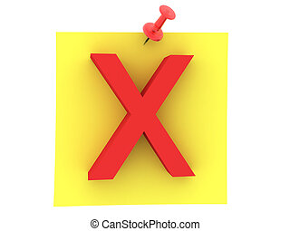 3D Rendering of yellow sticky note with red x sign on it