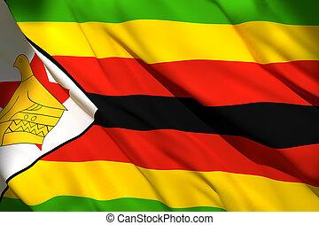 3d rendering of Zimbabwe flag