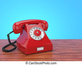 3D rendering old red phone