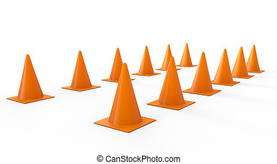 3d rendering orange traffic cones on white background