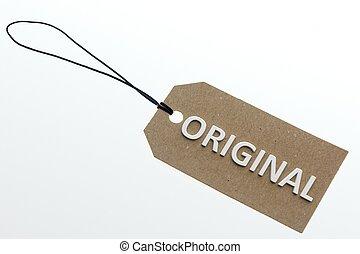 3D rendering ORIGINAL word on paperboard