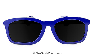 3d rendering pair of blue glasses on white background