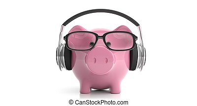 3d rendering pair of wireless headphones and a piggy bank