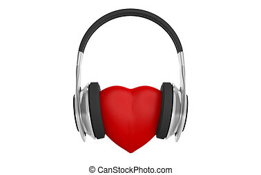 3d rendering pair of wireless headphones and a red heart