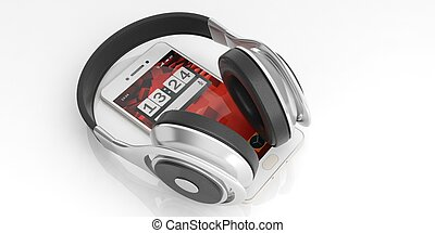 3d rendering pair of wireless headphones and a smartphone