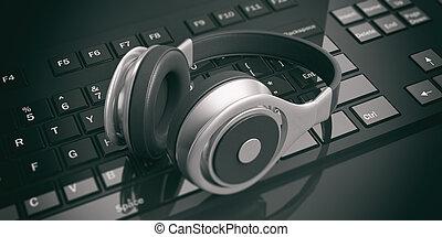 3d rendering pair of wireless headphones on a keyboard