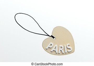 3D rendering PARIS word on paperboard