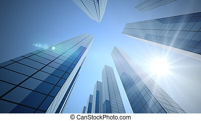 Perspective view, the skyscraper is directed to the sky and Sun.