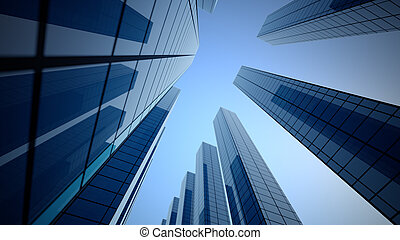 Perspective view, the skyscraper is directed to the sky.