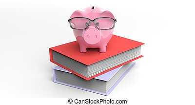 3d rendering piggy bank on books