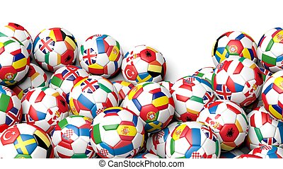 3d rendering Pile of classic soccer balls