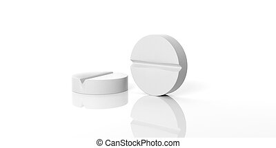 3d rendering pills on white background