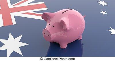 3d rendering pink piggy bank on Australia flag