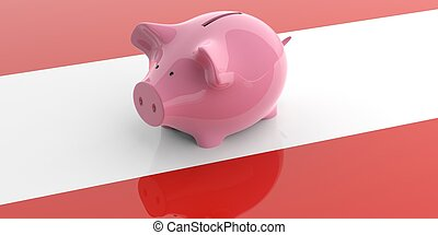 3d rendering pink piggy bank on Austria flag