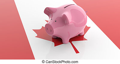 3d rendering pink piggy bank on Canada flag