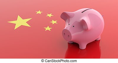3d rendering pink piggy bank on China flag