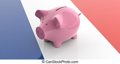 3d rendering pink piggy bank on France flag