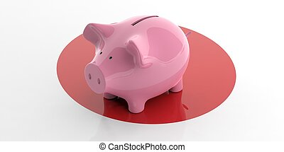 3d rendering pink piggy bank on Japan flag
