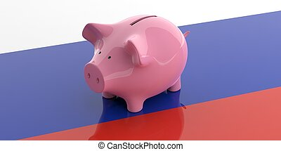 3d rendering pink piggy bank on Russia flag
