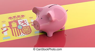 3d rendering pink piggy bank on Spain flag