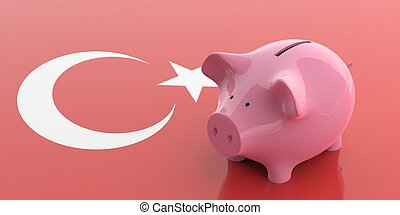 3d rendering pink piggy bank on Turkey flag