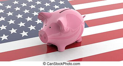 3d rendering pink piggy bank on USA flag