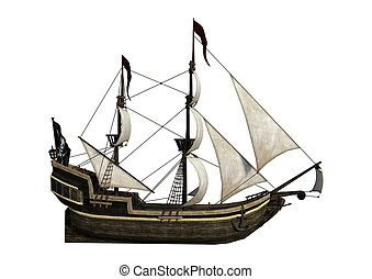 3D Rendering Pirate Ship on White