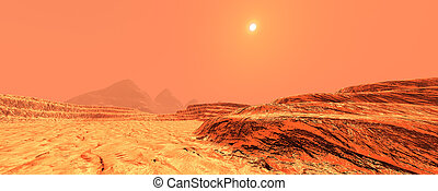 Mars landscape - 3d render. Red desert and clouds to ...