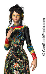 3D Rendering Princess of China on White