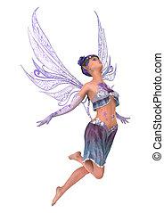 3D Rendering Purple Fairy on White