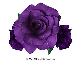 3D Rendering Purple Roses on White