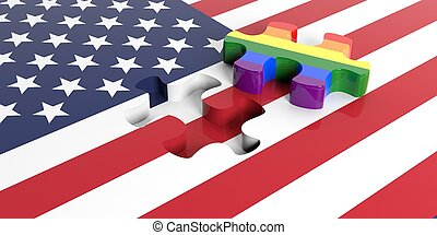 3d rendering puzzle piece out of USA flag