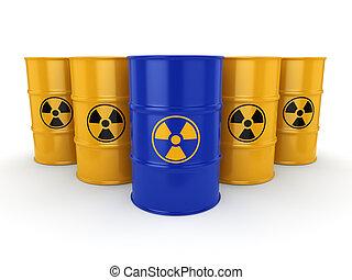 3D rendering radioactive barrels - 3D rendering yellow and...