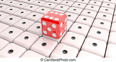 3d rendering red dice on white background