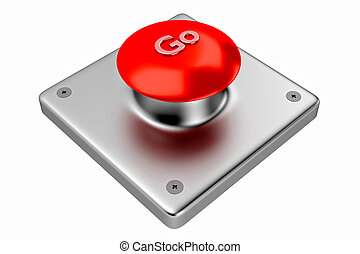 3D rendering. Red web button with go.